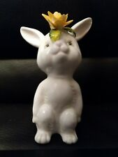 Vintage Schmid Bone China Bunny With flower On Head porcelain Easter figurine