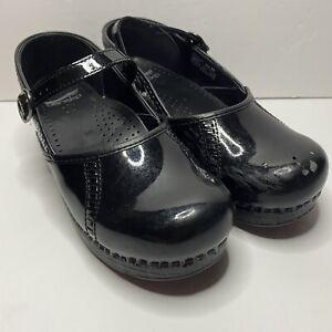 DANSKO Rubber Clogs 39 Women's Black Patent Leather Mary Jane 8.5-9 Nurse Read