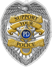 "Support Police Badge Officer Cop Justice Car Bumper Vinyl Sticker Decal 4""X5"""