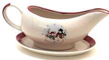 Royal Seasons Stoneware Christmas Winter Snowman Gravy Boat/Bowl & Underplate