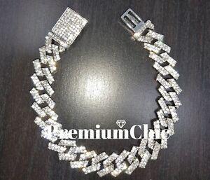 ICED Miami Cuban Link Chain Bracelet (Diamond Prong) Mens Hip Hop Jewelry