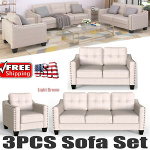 3PCS Sofa Set Living Room Loveseat Armchair Couch Kit Modern Home Furniture New