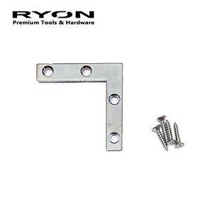 "100PC 50mm (2"") L Shape Plate AngleCorner Brace Flat Repair Bracket w/ Screws ZP"