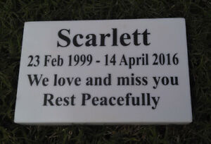 CUSTOM ENGRAVED STONE PET MEMORIAL HEADSTONE DOG CAT GRAVE MARKER PLAQUE 10