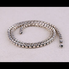 """Real Solid 925 Sterling Silver Necklace Box Chain Men's 22"""""""