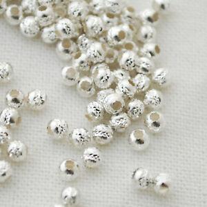 50 Italian 925 Sterling Silver Diamond Cut Seamless Round Beads - 3mm (Ref-XX)