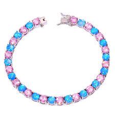 """Blue Fire Opal Pink Topaz Women Jewelry Gemstone Silver Bracelet 7 5/8"""" OS377"""