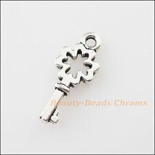35Pcs Tibetan Silver Tone Clover Flower Key Charms Pendants 6x15.5mm