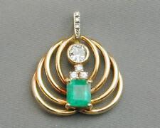 SPECTACULAR 14k Emerald & Diamond Pendant Old European Cut Must See