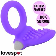 NEW Vibrating Silicone Tongue Cock Ring Penis Purple Clitoris Sex/Adult Toy