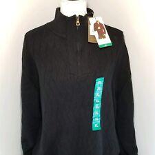 Weatherproof Vintage XL Sweater Ribbed Knit 1/2 Zip Black Cotton