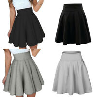 Women's Winter Stretch High Waist Skater Flared Pleated Party Mini Skirts Dress