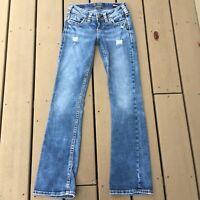Silver Womans Tuesday Low Boot Cut Denim Jeans 24W31L Super Stretch