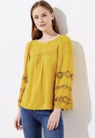 NWT Women's Ann Taylor LOFT L/S Yellow Embroidered Sleeve Blouse Top Sz Large