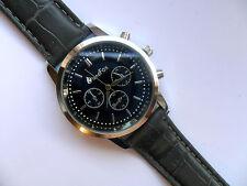 muy elegante negro caras Reloj de cuarzo gris CORREA