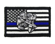 Saint Michael St Police US Flag Blue Line Tactical Hook & Loop Patch American