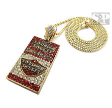 """Iced Out Cigarette Case Pendant Necklace w/2mm 30"""" Box Chain Necklace SPMZ16BX"""