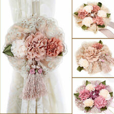 Elegant Flowers Curtain Tiebacks Tassel Binding Rope Holdbacks Home Hotel Decor