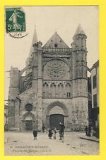 cpa FRANCE Old Postcard 77  BRIE COMTE ROBERT Façade de l'EGLISE Enfant ECHASSES