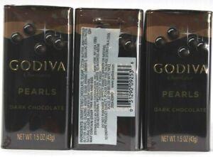 3 Count Godiva Chocolatier Pearls Dark Chocolate Travel Tin  1.5oz BB 6-2021