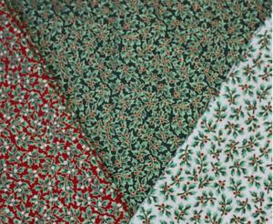 Christmas Shining Metallic Holly Fabric Red Green Cream Festive Advent Material