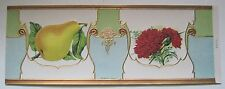 Pear & Red Carnation Early Art Nouveau Embossed Can Label - Stock Label