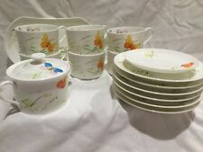 Mikasa Mariposa Bone China Coffee Tea Cups Saucers Sugar Bowl & Plates 15 Pcs