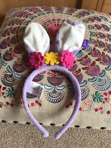 Milka Chocolate Easter Bunny Ears Purple & White Hair Head Band Flowers Alpine