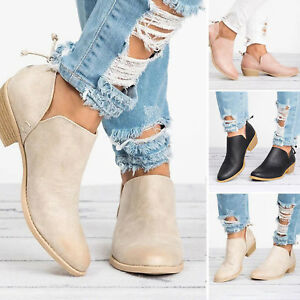 Womens Ankle Boots Low Block Heel Shoes Ladies Faux Leather Casual Short Booties