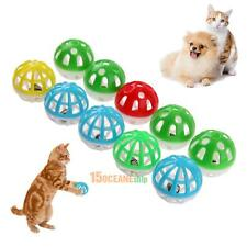 10pcs Plastic Hollow Out Round Pet Cat Colorful Play Ball Toys With Bell Pounce
