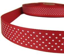 "5 Yds Red White Confetti Swiss Tiny Polka Dot Grosgrain Ribbon 1""W"