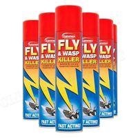 6x Sanmex Fly & Wasp Killer Spray 300ml Household Insectide Power Pest Control