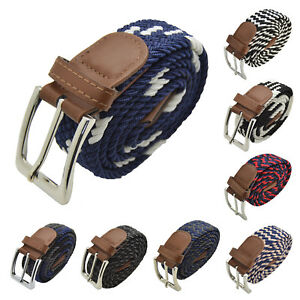 Men Elastic Expandable Braided Fabric Woven Stretch Belts