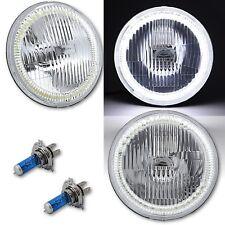 "7"" COB White Stock LED Halo Angel Eye H4 Headlamp Headlight Halogen Light Pair"
