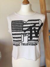 MTV Music Tv Sleeveless Black & White Top River Island Size Uk 8