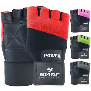 Blade® Gym Gloves Weight Lifting Training Workout Fitness Wrist Strap Leather