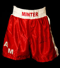 *New* Alan Minter Signed Custom Made Boxing Trunks
