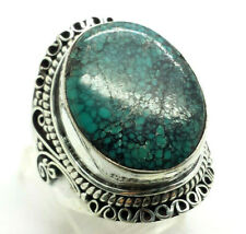 Oval Turquoise Sterling Silver 925 Ring 17g Sz.9.5 TOM032