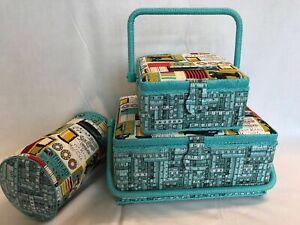 Sewing Box Basket Blue & Red Sewing Pattern - 3 Sizes - Craft Storage Gift