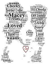 Border Collie personalizzata Word art print con inizializzato Amore Cuore
