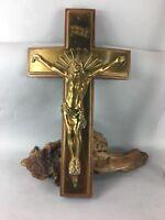 Vintage wood and brass wall Crucifix Cross Jesus Christ INRI