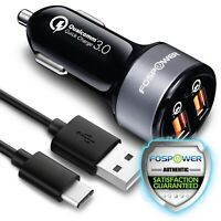 Dual Port USB Type C Cable Fast Car Charger Quick Charge 3.0 Samsung Galaxy S10