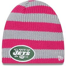 new era nfl york/NY jets womens knit Beanie/cap OS pink/grey BCA breast cancer