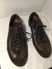Salvatore Ferragamo mens blue Brown leather tennis shoes 9 10 US Italy New