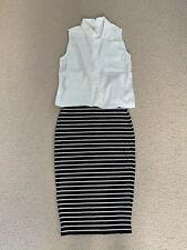 M&S Breton Black And White Stripe Tube Skirt Size 8