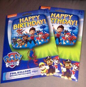2 x PAW PATROL Genuine Nickelodeon HAPPY BIRTHDAY PARTY BALLOONS FOIL 45cm