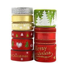 "9 Styel Christmas Ribbon Grosgrain & Satin & Wired Sheer Ribbon 0.4"" 0.6"" 1"""