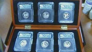 2009 State Quarters Silver Proof ICG DCAM First Day of Issue In Wood Box SEE PIC