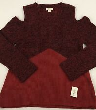 Style & Co Womens Long Sleeve Red/black Cold Shoulder Sweater Size-L (M)
