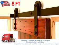 8FT Vintage Strap Industrial Wheel Steel Sliding Barn Wood Door Hardware 440LB T